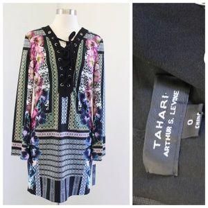 NWT Tahari Levine Geometric Floral Lace Up Dress